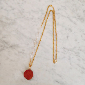 The Coral Reef Pendant | Coral Gemstone and Crystal Quartz Pendant | Gold Chain Pendant Necklace