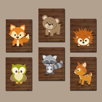 WOODLAND Nursery Wall Art, Woodland Nursery Decor, WOODLAND Animals Decor, Woodland Baby Shower, Canvas or Prints Set of 6 Wall Decor
