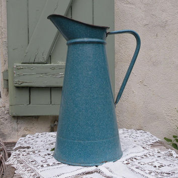 SALE-15% OFF Beautiful blue speckleware / graniteware French vintage enamel pitcher, french enamelware, enamel pitcher, shabby chic, cottage