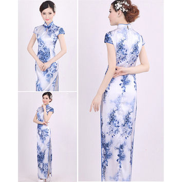 Chinese Blue and white porcelain Cheongsam Evening Prom Wedding Elegant Dress S