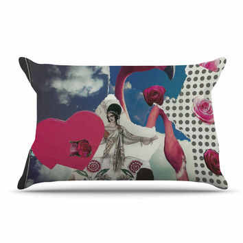 "Jina Ninjjaga ""Flamingo Attack"" Pop Art Pillow Case"