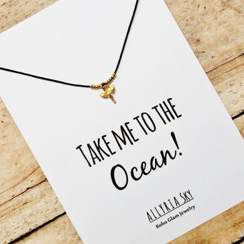 """Gold Vermeil Shark Tooth Necklace with """"Take Me To The Ocean"""" Card 