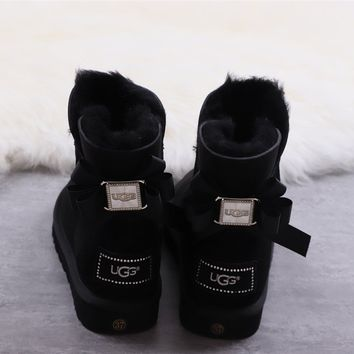 Ugg winter women's bow-knot boots black shoes