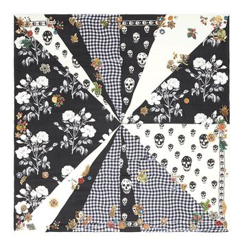 Alexander McQueen | 'Patched Gingham Rose' print silk chiffon scarf | Women | Lane Crawford - Shop Designer Brands Online