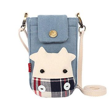 Aibearty Cratoon Cow Canvas Crossbody Bag Wallet Purse Coin Purse Cell Phone Pouch