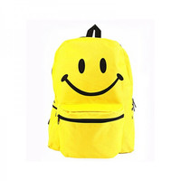 Emoji Printing Backpack Oxford Yellow Cute Smiley School Bag