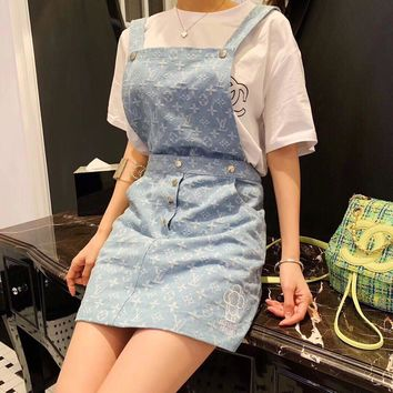 """Louis Vuitton LV"" Women Fashion Letter Logo Embroidery Denim Back Strap Skirt Dress"