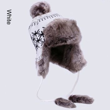 Bomber Hat Women Winter Russian Ushanka Wool Knit Pom Pom British Flag Trapper Aviator Hats Fox Fur Earflaps Snow Caps