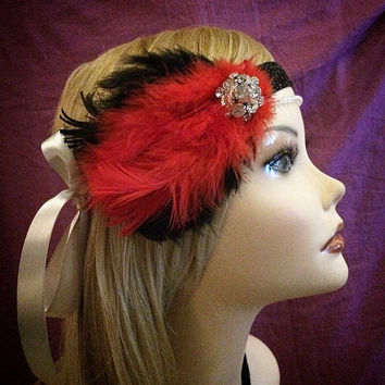 1920s style RED gatsby flapper headband black sparkly 20s inspired crystal rhinestone headpiece head piece hair 1920's 20's art deco beaded