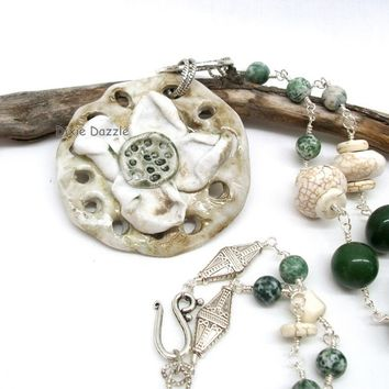 Long Boho style ceramic flower pendant necklace with buffalo turquoise (howlite), green jade and moss agate. Made in USA by Dixie Dazzle