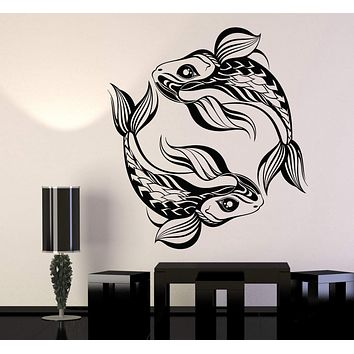 Vinyl Wall Decal Pisces Horoscope Animals Fishes Asian Style Stickers Unique Gift (1126ig)