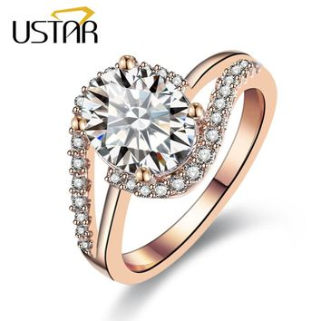 USTAR NEW 2017 AAA Zircon Crystals wedding rings for women rose gold color engagement rings female anel fashion Jewelry