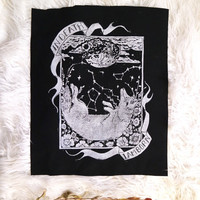 Original Hand carved Block Print sew-on back patch in Ox Blood or Black Canvas by MoonGoddessMarket®
