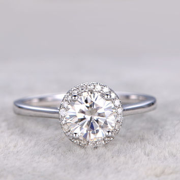 Moissanite Diamond Engagement Rings 14k/18k White Plain Gold 1ct Stone Halo Stacking Thin