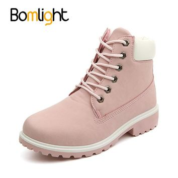Bomlight Women's Autumn Shoes Brand Martin Boots Women Cute Pink Boots High Quality Work Boots Flat Heel Ankle Boots for Women