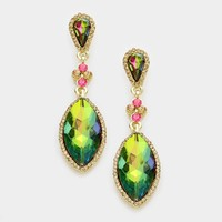 "2.50"" iridescent crystal dangle pierced earrings bridal prom"
