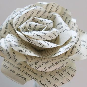 "Classic Novel Book Page Rose, 4"" large Paper Flower, Rustic Wedding decorations, Bridal party gift idea, make a bouquet of flowers"