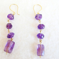 Long gemstone earrings deep purple amethyst dangles