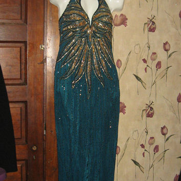 Gorgeous Vintage 80s Alyce Designs gold Sequin Beaded  Avant Garde SILK Prom Evening Cocktail Party Dress Gown  size 10