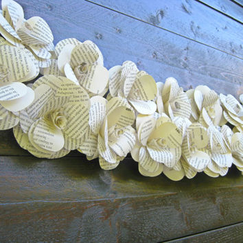 Book Paper Garland, Paper Flower Garland, Party Decoration, Ceremony Backdrop, Wedding Reception, Wedding Photo Prop Decor, Rustic Wedding