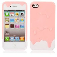 niceEshop Melting Ice Cream Hard Plastic Back Case Cover for iPhone 4 4S Pink + White