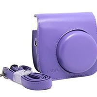 [Fujifilm Instax Mini 8 Case] - CAIUL Comprehensive Protection Instax Mini 8 Camera Case Bag With Soft PU Leather Material ( Purple )