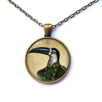 Toucan pendant Animal necklace Steampunk jewelry CWAO143