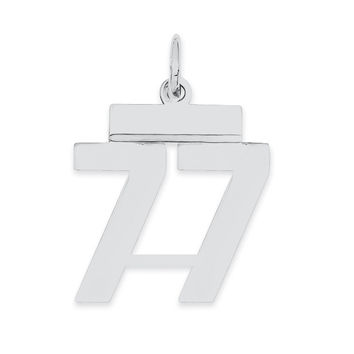 Sterling Silver Small Polished Number 77 QSS77