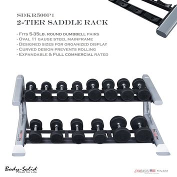 2017 NEW Two-Tier Round Dumbbell Saddle Rack Body-Solid SDKR500