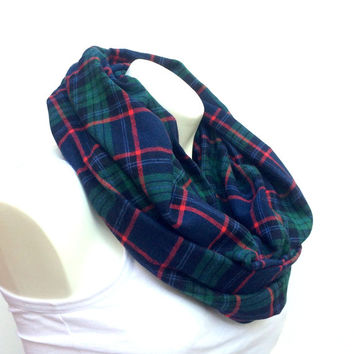 Navy Checker Flannel Infinity Scarf, Women, Teen, Men Fashion Accessory