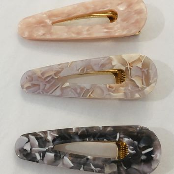 Set of 3 Snap Hair Barrettes in Pastel Marble