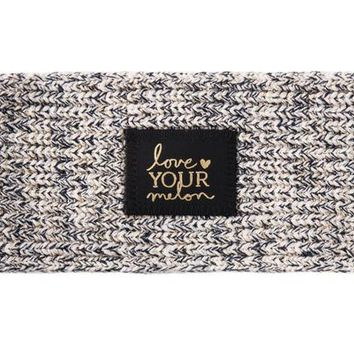 Navy Speckled Metallic Gold Yarn Knit Headband - Love Your Melon