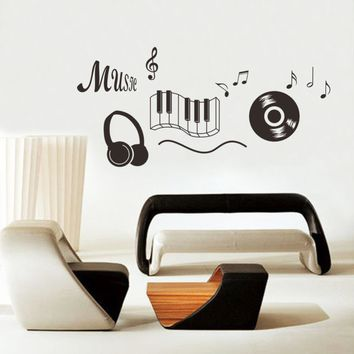 Headphones Theme Dancing Music Note Bedroom Wall Sticker