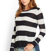 FOREVER 21 Rugby Stripe Sweater Navy/Oatmeal