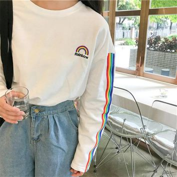 Korea T-shirt for Women 2017 Autumn New college kawaii rainbow embroidery striped sleeve loose long-sleeved Harajuku Top