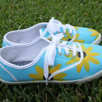 Sunflower painted canvas tennis shoes