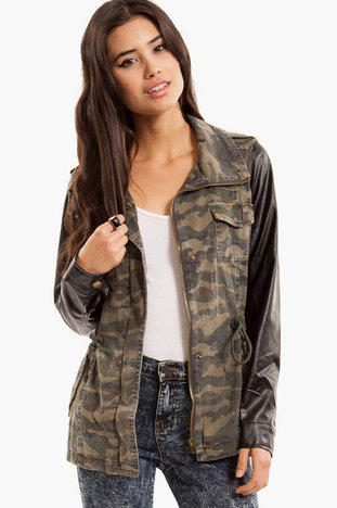 Cam Jacket with Leather Sleeves $50