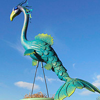 Sea Dragon Flamingo garden art, handmade, lawn art, lawn sculpture, up-cycled plastic flamingo.