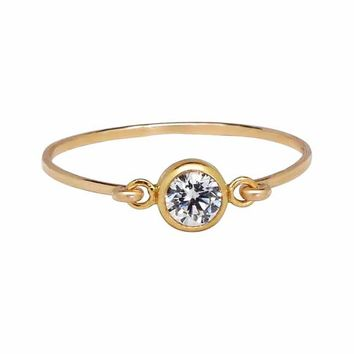 6mm Round CZ Bezel Link Ring