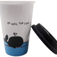 Natural Life 1 Count Thermal Mug, Whale Go with The Flow