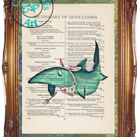 Green Glowing Hungry Shark Art Beautifully Upcycled Vintage Dictionary Page Book Art Print, Shark Print