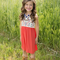 Girls Embroidery Mini Dress Coral
