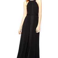 Black Crew Neck Sleeveless Chiffon Maxi Dress