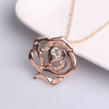 Rose Pendant Necklace  Golden Flower  Jewelry Woman Girls Accessories