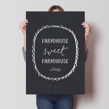 Farmhouse Sweet Farmhouse Chalkboard Print