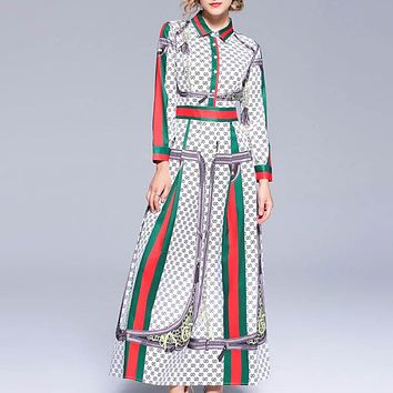 GUCCI Women Fashion New Stripe More Letter Print Slim Fit Personality Long Sleeve Long Dress