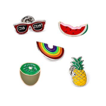 Trendy Fashion Brooch Pins Badge for Women Men Pin Button Sunglasses Watermelon Rainbow Pineapple Kiwifruit Pin Denim Jacket Clothing AT_94_13