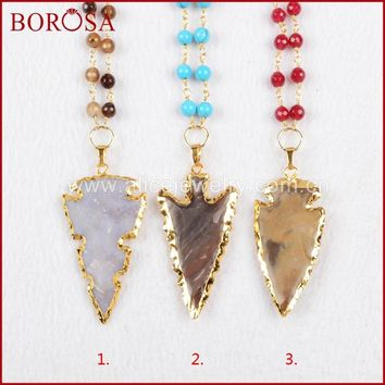 BOROSA Gold Color Natural Arrowhead Natural Stone Necklace with 6mm Crystal Blue Stone Stones Beads For Women G795