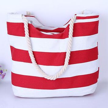 Red Blue Stripes Women's Shoulder Bags - Floral Canvas Beach Tote Purse Canvas Handbags Totes