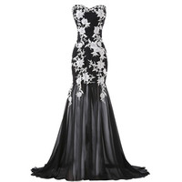 2015 New Floor Length Strapless White Appliques Mermaid Trumpet Evening Prom dress Black Formal Party Homecoming Gown CL6257-in Prom Dresses from Weddings & Events on Aliexpress.com   Alibaba Group